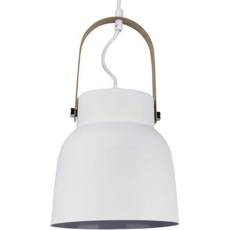 Lámpara colgante blanca de metal y madera modelo Narvik E27 ø190x200mm. (GSC 204400001)