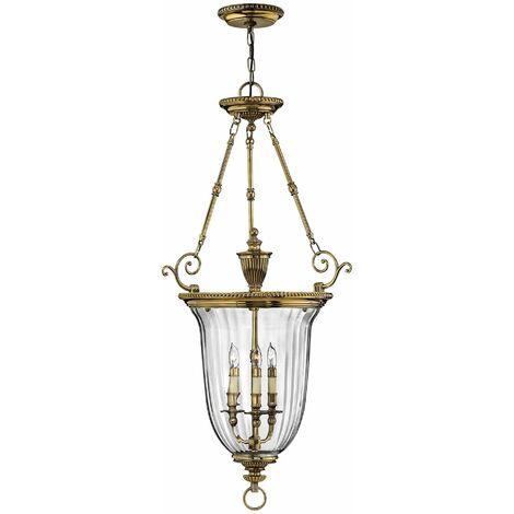 Lámpara colgante Cambridge, latón y vidrio, 3 bombillas, grande