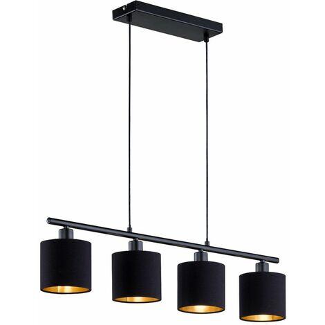 Lámpara colgante comedor cocina textil colgante lámpara de techo oro negro en el conjunto que incluye bombillas LED