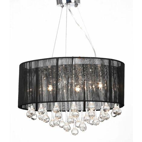 Lámpara colgante con 85 cristales negros