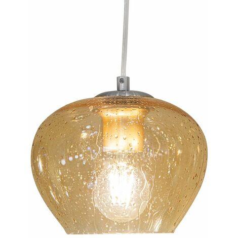 Lámpara colgante con control remoto regulable Lámpara colgante de vidrio Lámpara colgante redonda para mesa de comedor Vidrio, óptica de lágrima, cambio de color ámbar, LED RGB E27 de 9 vatios, comedor