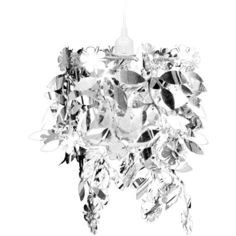 Lámpara colgante con lentejuelas ovaladas plateadas 21,5 x 30 cm