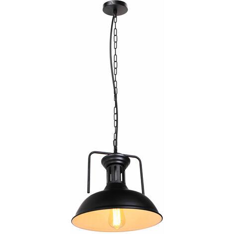 Lámpara Colgante Creativa Cubierta Metálica de Ø330mm Colgante de Luz Industrial Retro Lámpara de Techo Nostálgica Vintage para Cafe Office Bar Club Interior Blanco Exterior Negro