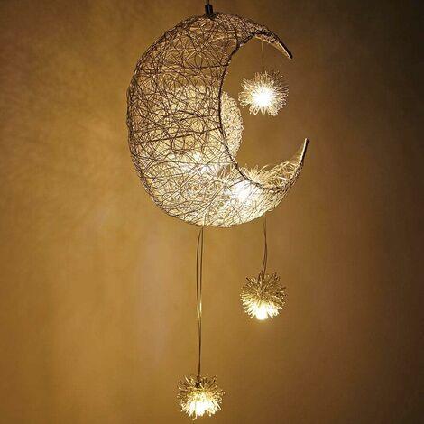 Lámpara Colgante Creativa Fairy Moon Stars Lámpara de Techo LED Moderna Lámpara de Araña Trenzada Sombra para Dormitorio Habitación infantil Luz Cálida