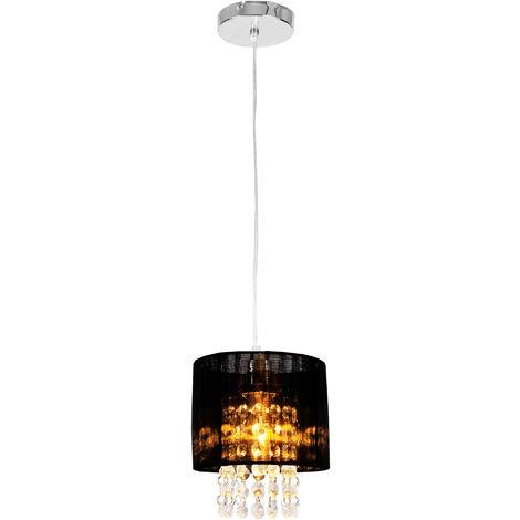 Lámpara colgante - Cristal artificial - Diseño excepcional - cromo / negro (E 14) - Iluminación colgante - Lámpara de techo