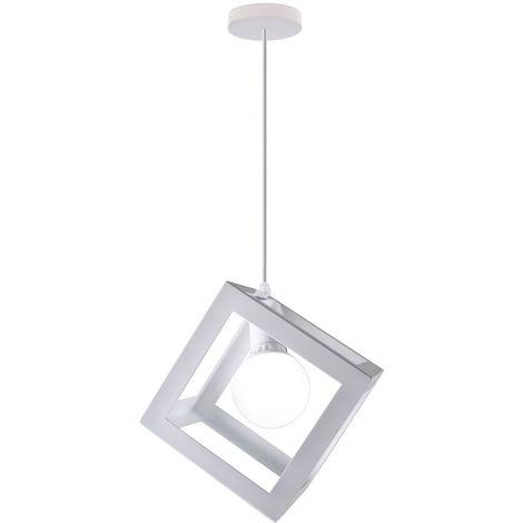 Lampara Colgante Cuadrada Cubo Moderno Creativo Luz Ajustable de Techo Ø22cm Hueco de Cage Hierro Decoracion de Sala Cafe Restaurante blanco