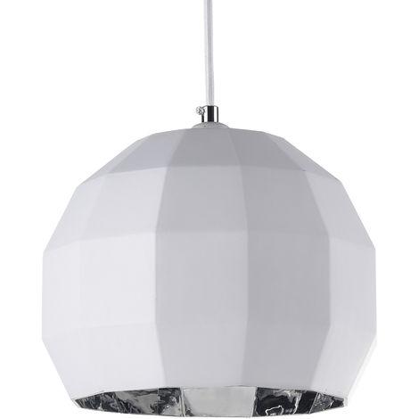 Lámpara colgante de cristal modelo Alba blanco y plata E27 220x1650mm. (Ledesma 10435)