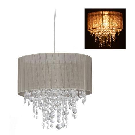 Lámpara colgante de cristal, Pantalla de organza, E27, Iluminación de techo, 129x32cm, 1 Ud., Gris & Plateado