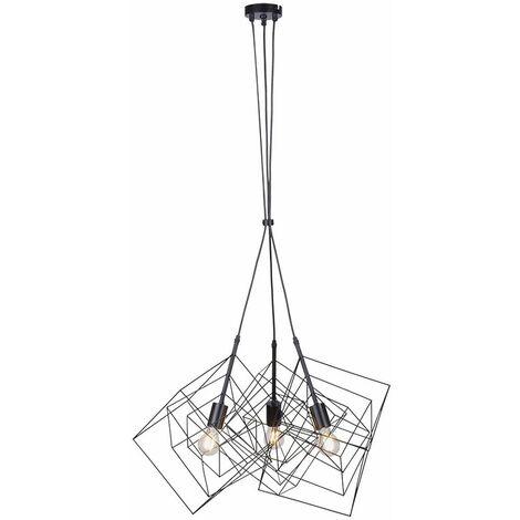 Lámpara colgante de cubo de rejilla LED RGB inteligente DIMMABLE Luz de péndulo de jaula retro negro controlable a través del teléfono móvil