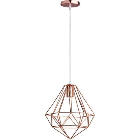 Lámpara Colgante de Diamante Esferica Moderno Creativo Luz de Techo Jaula de Hierro Metal Diseno Simple Decoracion de Restaurante Cocina Cafe Estudio (Oro rosa)