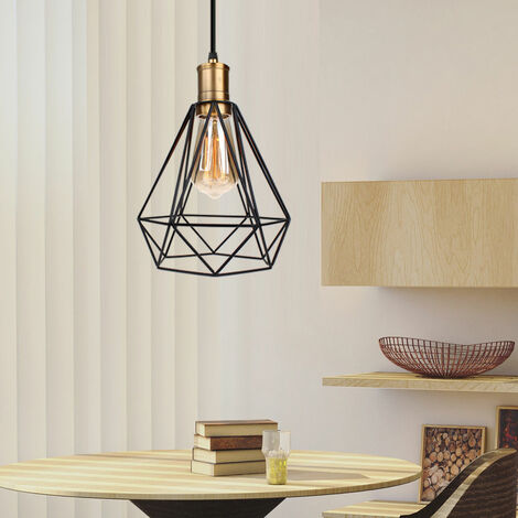 Lámpara Colgante de Diamantes de 20 cm Lámpara Creativa Moderna Lámpara de Techo Industrial Antigua para Dormitorio Bar Cafe Negro