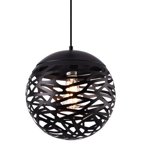 Lámpara colgante de diseño negra metal - redonda