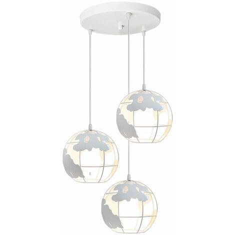 Lámpara Colgante de Globo Terráqueo Grupo de 3 vías Hierro Creativo 3 cabeza Industrial Luz de Techo Decoración para Restaurante Loft Escalera Casa (Blanco)