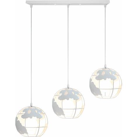 Lámpara Colgante de Globo Terráqueo Grupo de 3 vías Palo Hierro Creativo 3 cabeza Industrial Luz de Techo Decoración para Restaurante Loft Escalera Casa (Blanco)