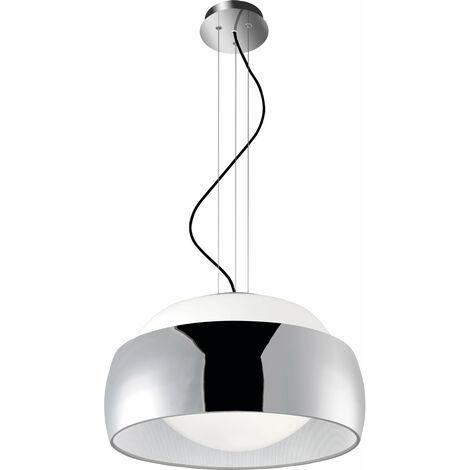 Lámpara colgante de globos, Textil Acero y vidrio, cromo