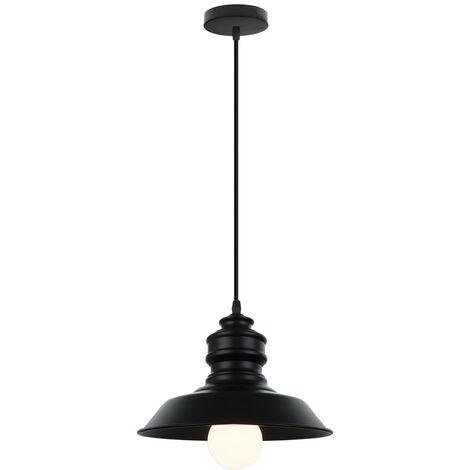 Lámpara Colgante de Hierro Metal forma de Sombrero Moderno Creativo Luz de Techo Plato Mate Estilo Nórdico Decoracion para Sala de estar Cocina Oficina (Negro)