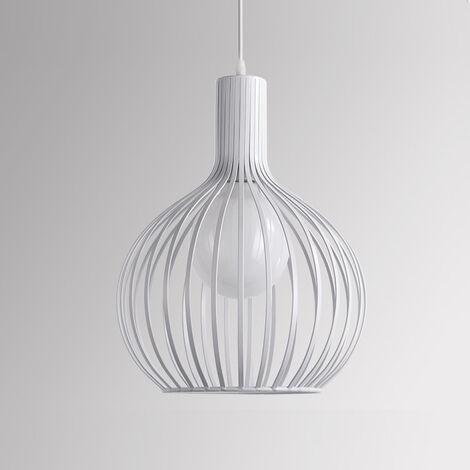 Lámpara Colgante de Jaula de Hierro Retro Metal Calabacín Industrial Creativo Luz de Techo Moderno Iluminacion para Cocina Comedor Dormitorio (Blanco)
