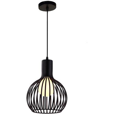 Lámpara Colgante de Jaula de Hierro Retro Metal Calabacín Industrial Creativo Luz de Techo Moderno Iluminacion para Cocina Comedor Dormitorio (Negro)