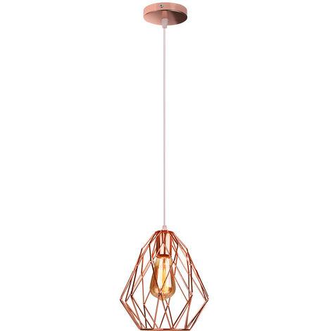 Lámpara Colgante de jaula de Pájaros Lámpara de Techo de Diamantes Lámpara Industrial Vintage para Dormitorio Interior Cafe Bar Oro Rosa