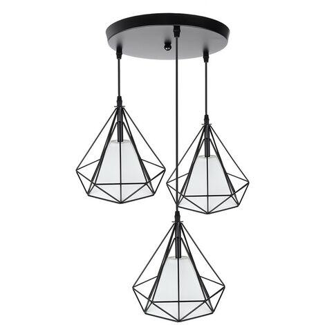 Lámpara colgante de jaula en forma de diamante Comedor Sala de estar AC110-221V