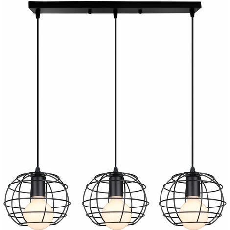 Lámpara Colgante de Jaula Redonda Lámpara de Techo Industrial Vintage Araña de 3 Cabezas para Cafe Bar Negro