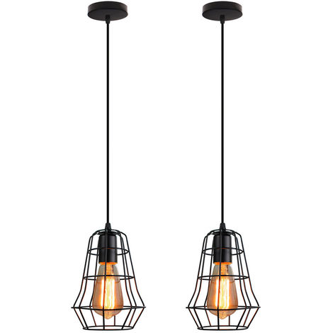 Lámpara Colgante de Jaula Retro Lámpara de Techo Creativa Industrial Negra E27 Enchufe Luz Colgante Vintage para Dormitorio Café Cable Ajustable Altura(2X)