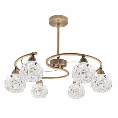 Lámpara colgante de metal 6 luces Glass