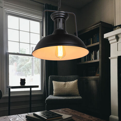 Lámpara Colgante de Metal Creativa Ø330MM Colgante de Luz Industrial Retro Negra Luz Colgante Nostálgica Vintage