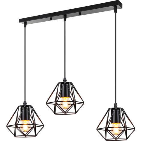 Lámpara Colgante de Metal Industrial Vintage Lámpara de Techo de Jaula de Hierro 3 Cabezas Luz Colgante Creativa para Cocina Café Oficina Comedor Negro