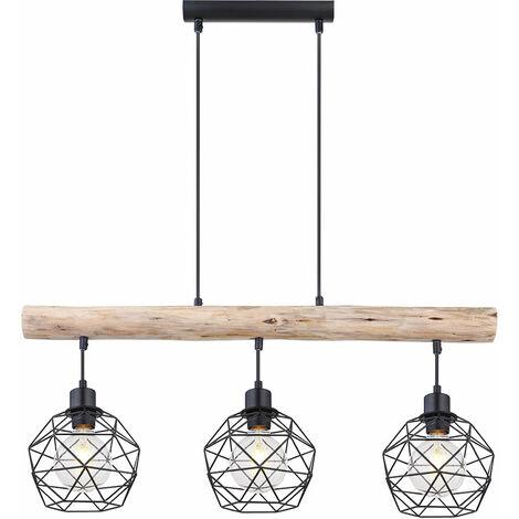 Lámpara colgante de péndulo vintage con viga de madera, sala de estar, comedor, lámpara colgante de celosía, negro