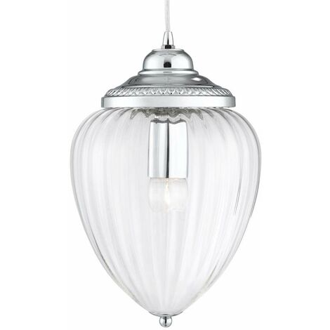 Lámpara colgante de piña con 1 llama, cromo, vidrio acanalado transparente, cromo / transparente