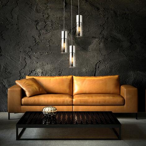 Lámpara colgante de techo cilindro de filamento iluminación de comedor lámpara colgante de humo de vidrio en un conjunto que incluye iluminante LED