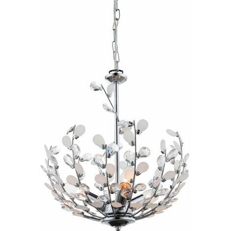Lámpara colgante de techo de hoja de cristal regulable CONTROL REMOTO Lámpara de cromo en un juego con iluminación LED RGB