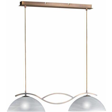 Lámpara colgante de techo de latón antiguo sala de estar casa de campo lámpara colgante de vidrio blanco Fischer luces 68872