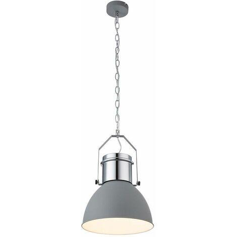 Lámpara colgante de techo de metal gris claro cromo blanco iluminación retro