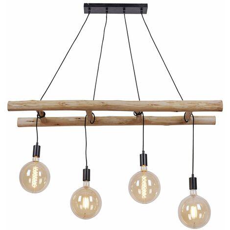 Lámpara colgante de techo Lámpara colgante de filamento retro para sala de estar de madera de eucalipto en un juego que incluye bombillas LED