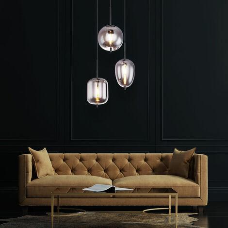 Lámpara colgante de techo para sala de estar Lámpara de vidrio de filamento RETRO ahumado en un conjunto con iluminación LED