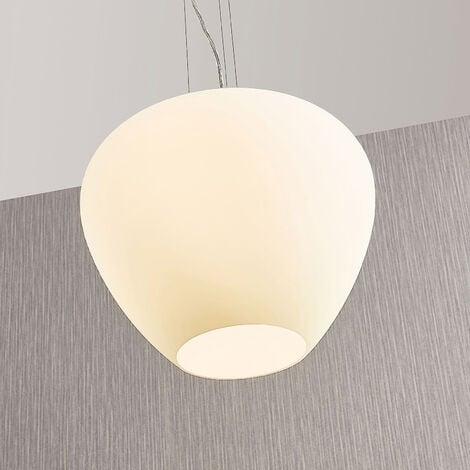 Lámpara colgante de vidrio Bibiane, blanco opal