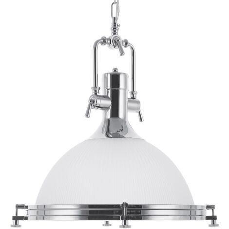Lámpara colgante de vidrio blanca/plateada EBRON