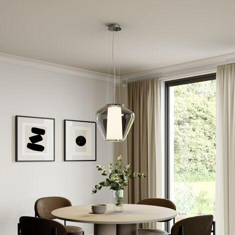 Lámpara colgante de vidrio Lorit, interior blanco