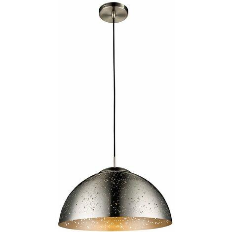 Lámpara colgante decorada perforaciones hemisferio níquel iluminación sala lámpara techo Globo 15001