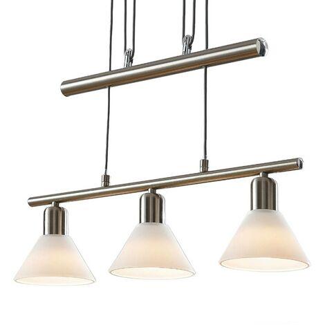 Lámpara colgante Delira 3 luces, níquel