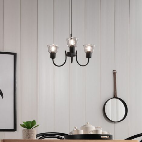 Lámpara Colgante Design Tivo 3 Focos Negro Negro