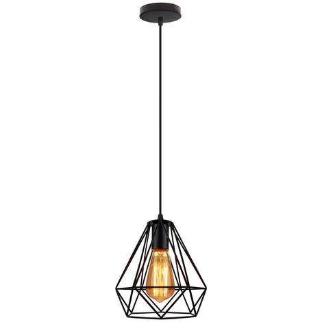 Lampara Colgante Diamantes Luz de Techo Creativo Moderno de Jaula de Hierro Cage Ø20cm Hueco Metal Iluminacion para Cocina Sala Comedor Bar (Negro)