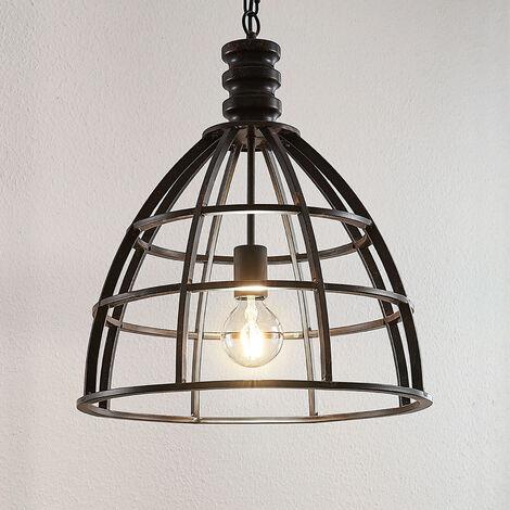 Lámpara colgante Dorit pantalla tipo jaula, rojiza