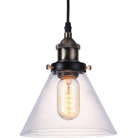 Lámpara Colgante Edison Pantalla Pequeña de Cristal – Acero de carbono Bronce