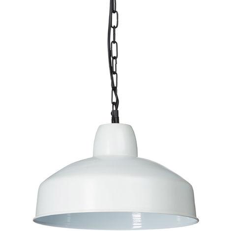 - Lámpara colgante en estilo industrial, hecho de metal, 132.5 x 31 x 31 cm, Zócalo E27, color blanco