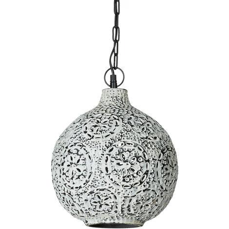 – Lámpara colgante en estilo Shabby chic con pátina, forma circular, hecho de hierro forjado, 145.5 x 27.5 cm, estilo industrial, zócalo E27, color blanco