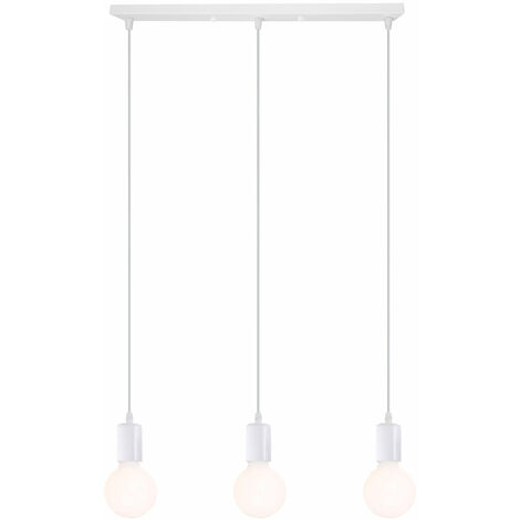 Lámpara Colgante Estilo Creativo 3 Cabezas Colgante de Luz Moderna Simple E27 Lámpara de Techo Retro para Dormitorio Cafe Bar Office Blanco