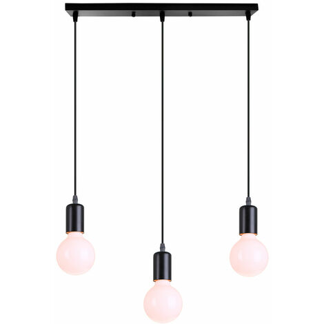 Lámpara Colgante Estilo Creativo 3 Cabezas Colgante de Luz Moderna Simple E27 Lámpara de Techo Retro para Dormitorio Cafe Bar Office Negro